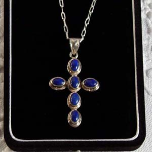 Cabochon Lapis Lazuli  and sterling silver cross